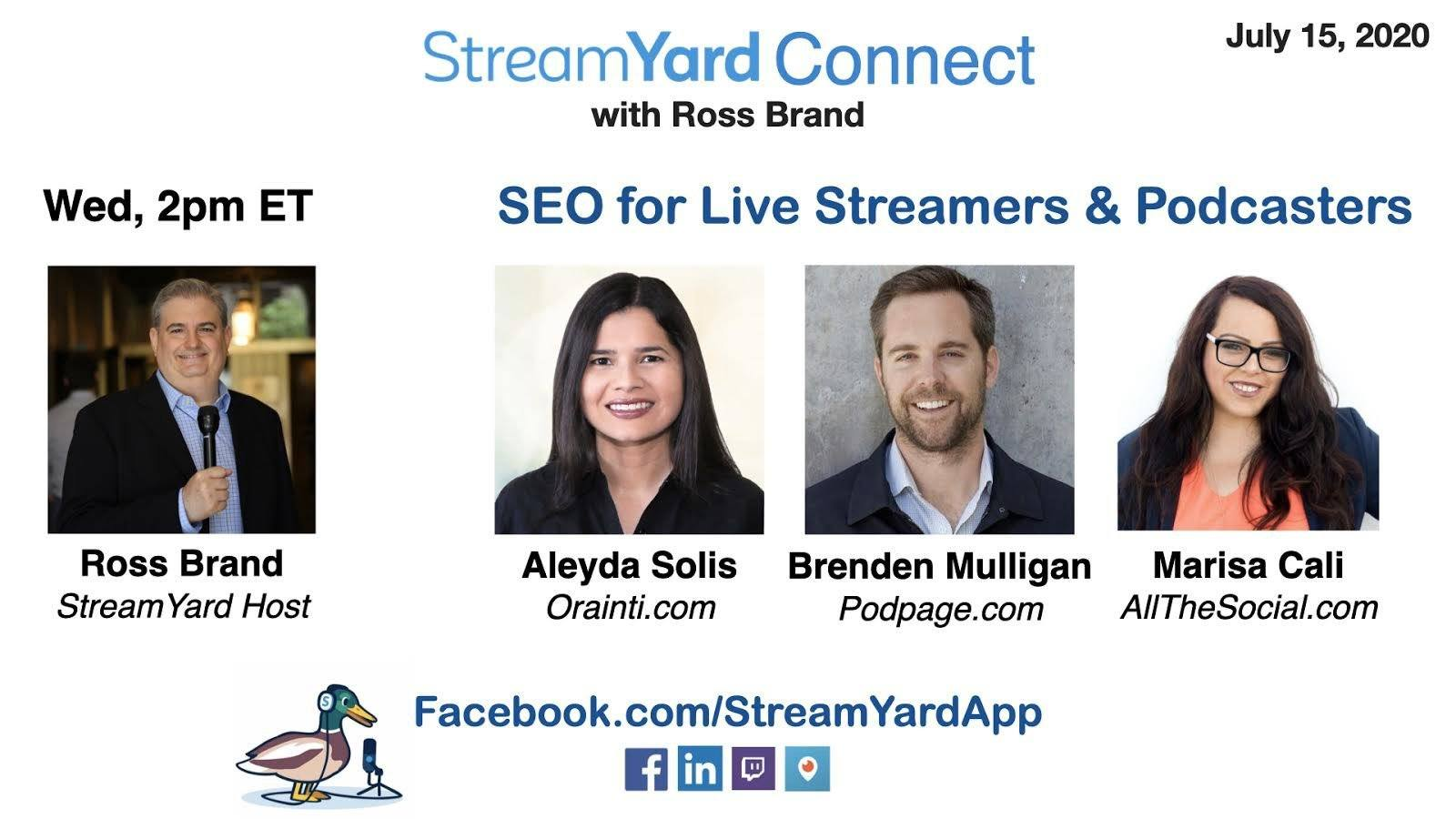 streamyard connect with ross brand ep33 SEO Panel