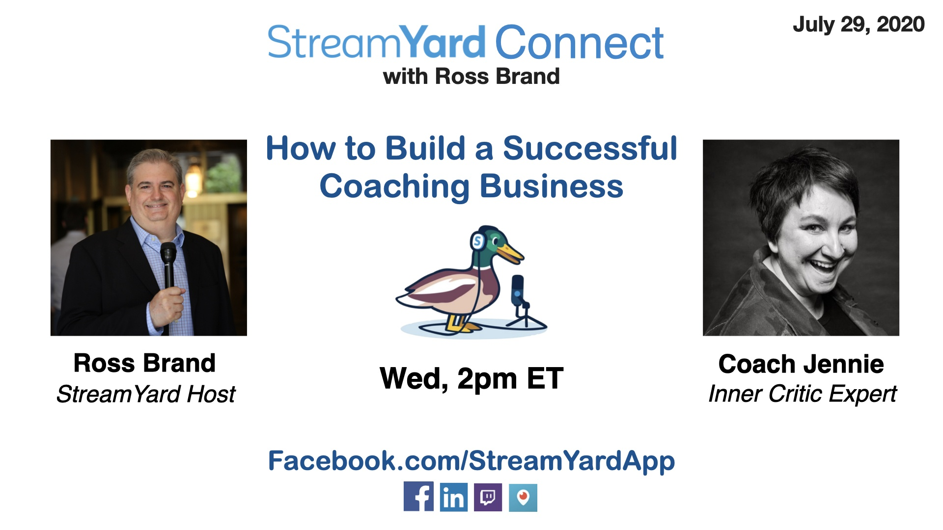 streamyard connect with ross brand ep35 coach jennie hilda