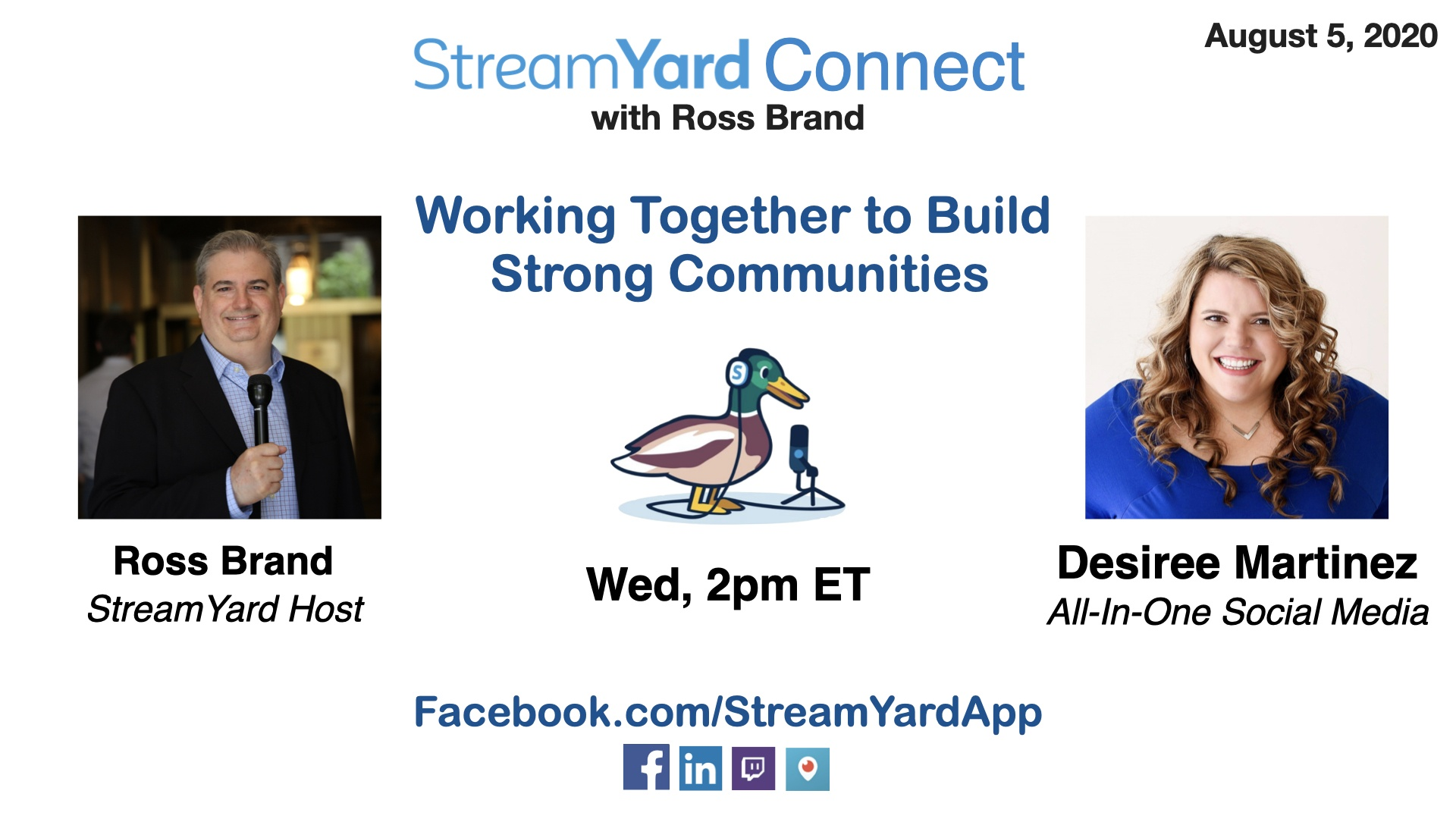 streamyard connect with ross brand ep36 desiree martinez